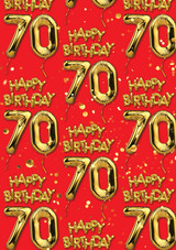 70th Birthday Gold Balloon Red Gift Wrap
