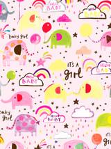 Baby Girl Pink Elephant Gift Wrap