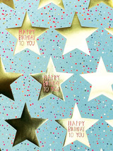 Blue & Pink Happy Birthday To You Gold Star Gift Wrap