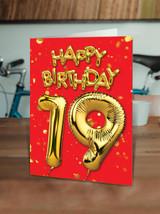 19th Birthday Balloon Card Red