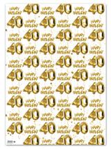 40th Birthday White Gold Balloon Gift Wrap