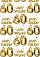 60th Birthday White Gold Balloon Gift Wrap