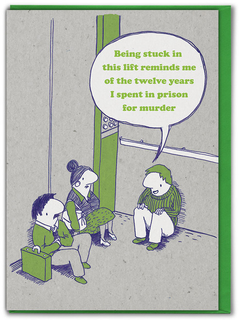 Stuck In Lift Birthday Card