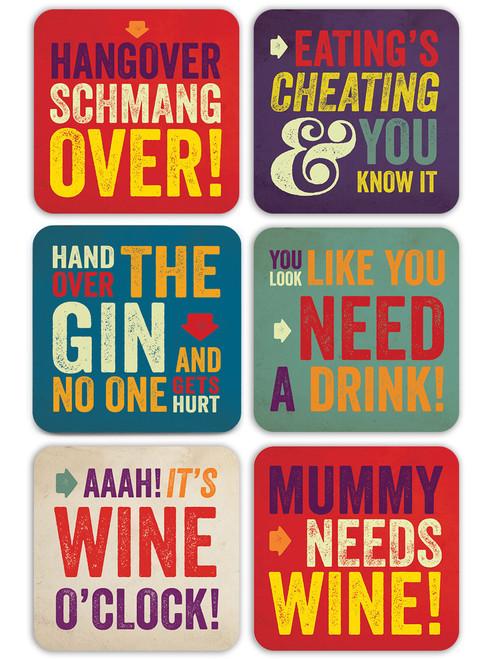 6 Pack Of Letterpress Coasters