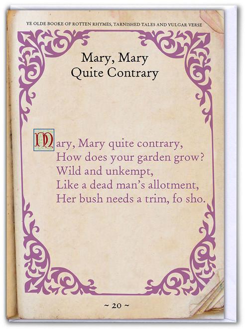 Mary Mary Contrary Birthday Card