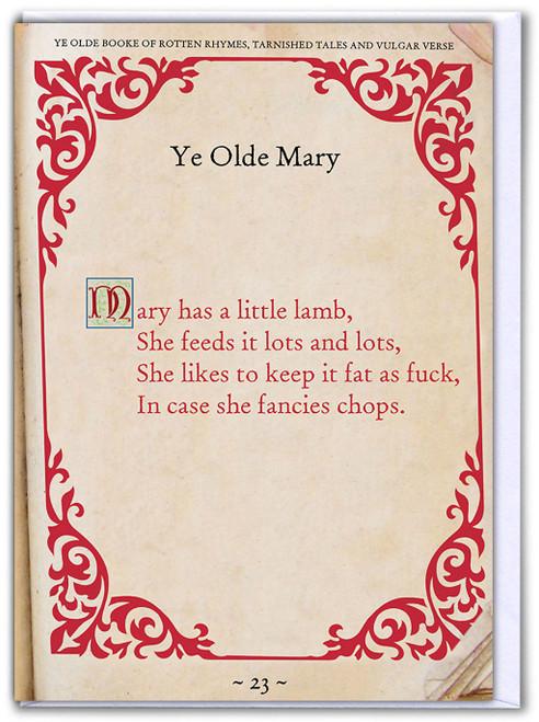 Mary Had A Little Lamb Birthday Card