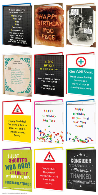 12 Pack Of Rude Birthday Cards