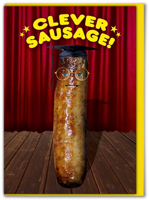 Clever Sausage Graduation / Exam / Congratulations Card