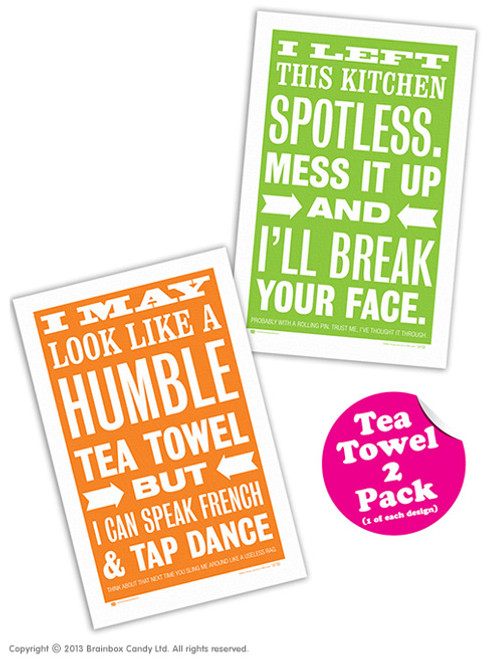 2 Pack Of Vintage Smintage Tea Towels