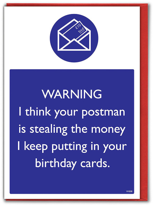 Warning Postman Theft Birthday Card