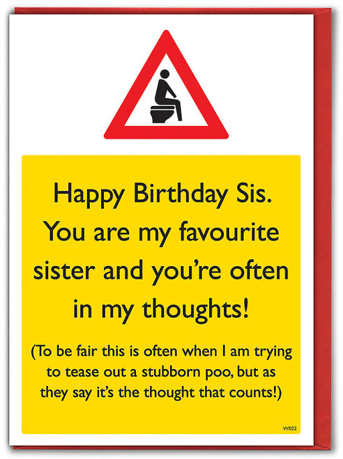 Poo Thoughts Sister Birthday Card