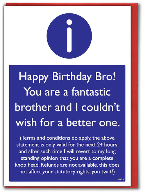 Brother T&Cs Birthday Card