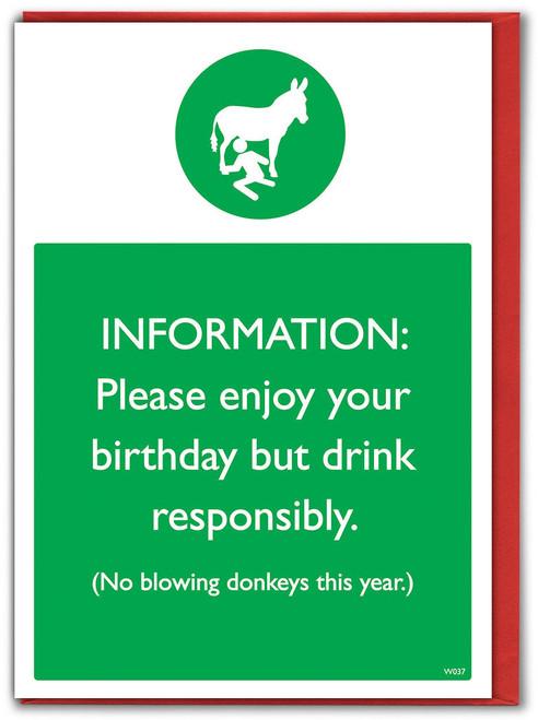 Donkey Blowing Birthday Card