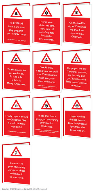 10 Pack Warning Rude Christmas Cards