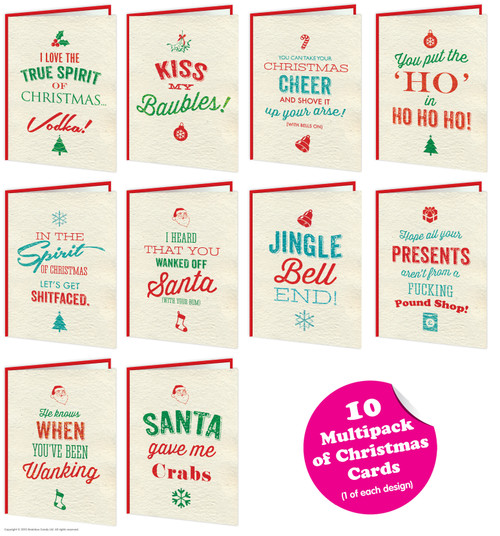 10 Pack Of Christmas Rude Cards