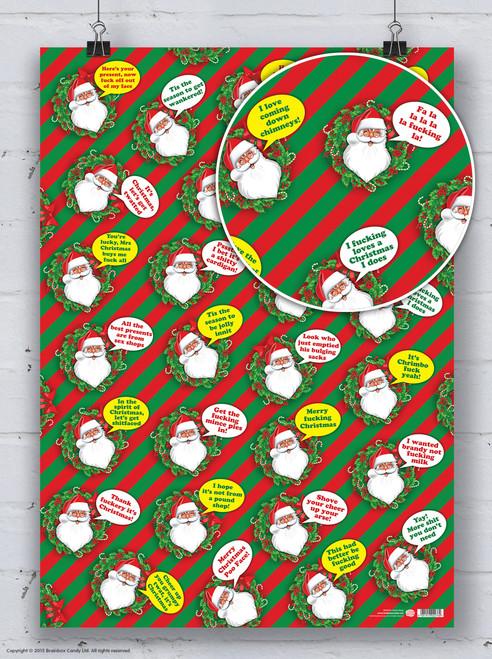 Rude Santa Christmas Gift Wrap