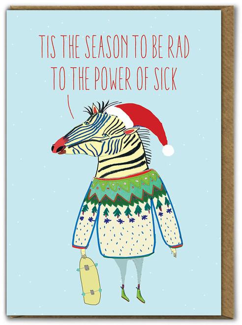 Zebra Tis The Season Christmas Card