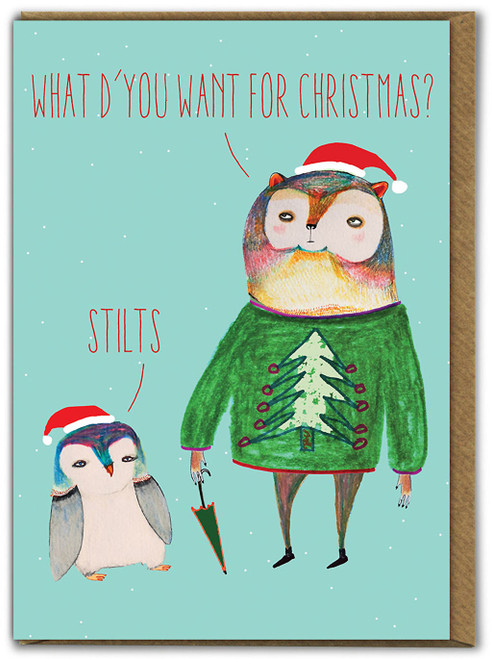 Bear & Penguin Stilts Christmas Card