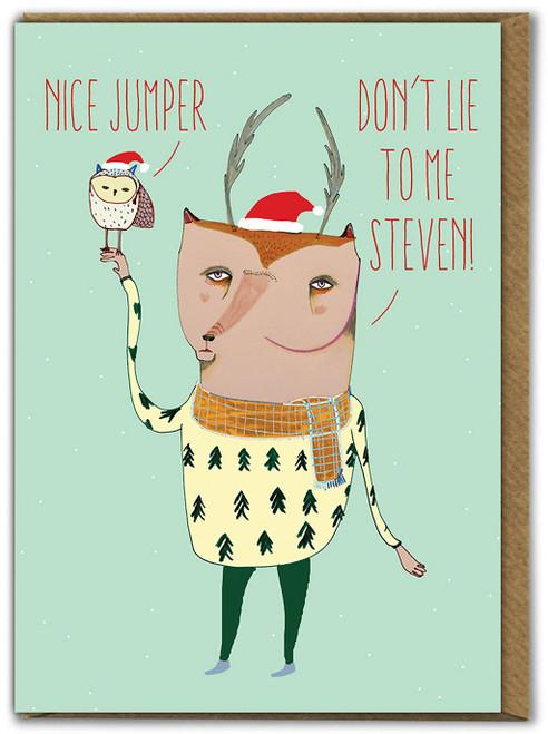 Deer & Owl Nice Jumper Christmas Card