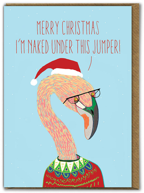 Flamingo Naked Christmas Card