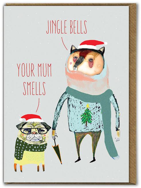 Bear & Dog Jingle Bells Christmas Card