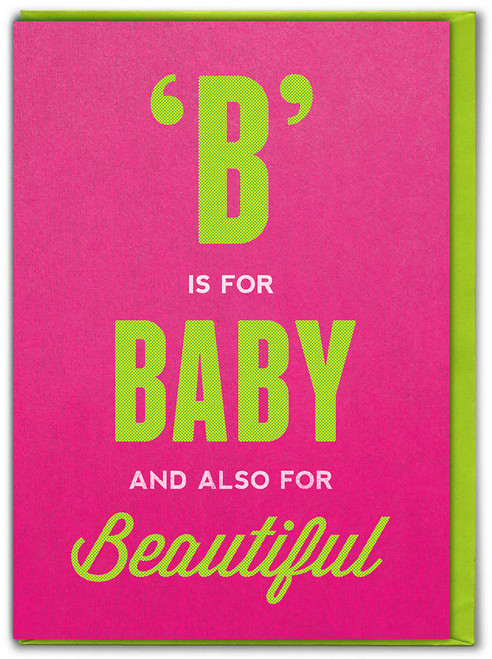 B Is For Baby (Girl) New Baby Card