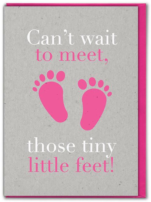 Tiny Little Feet Girl New Baby Card