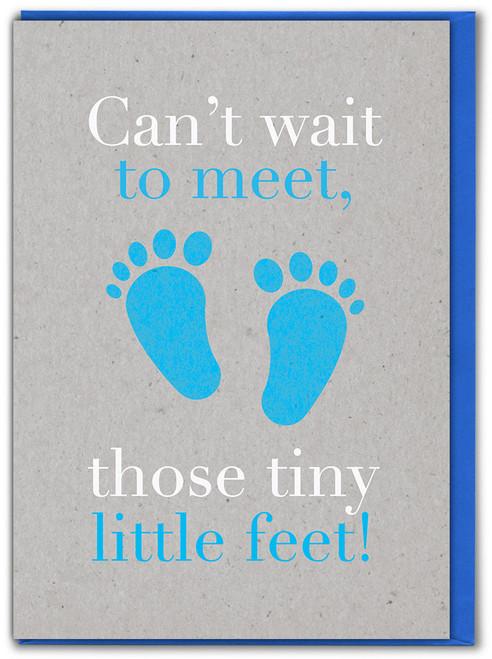 Tiny Little Feet Boy New Baby Card