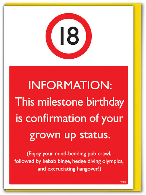 18th Birthday Greetings Card