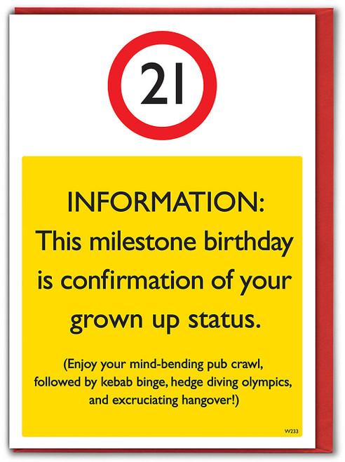 21st Birthday Greetings Card