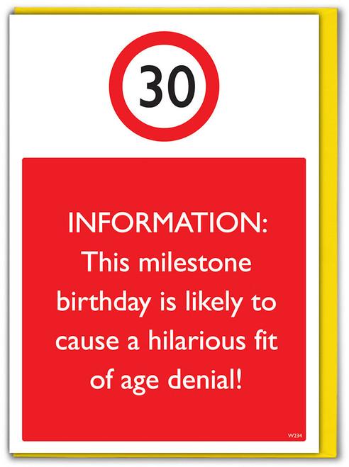 30th Birthday Greetings Card