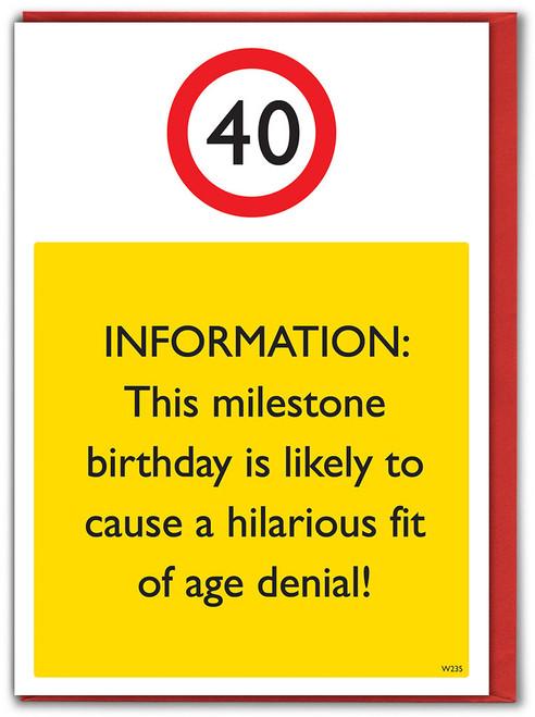 40th Birthday Greetings Card