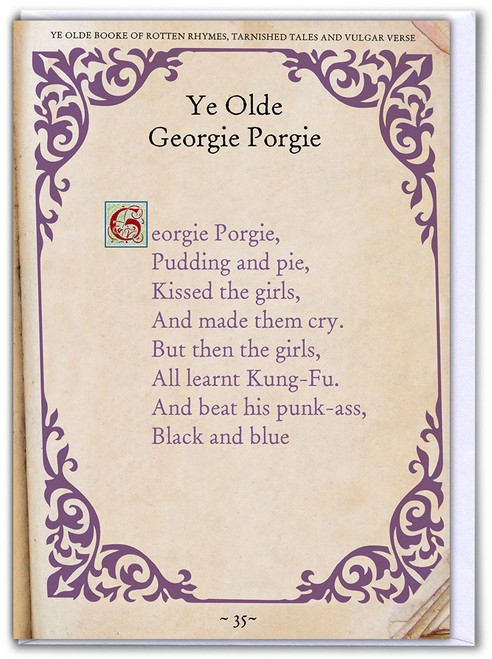 Georgie Porgie Greetings Card