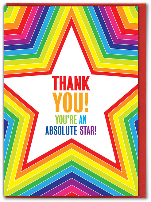 Thank You Absolute Star Greetings Card - Multi Pack Options Available