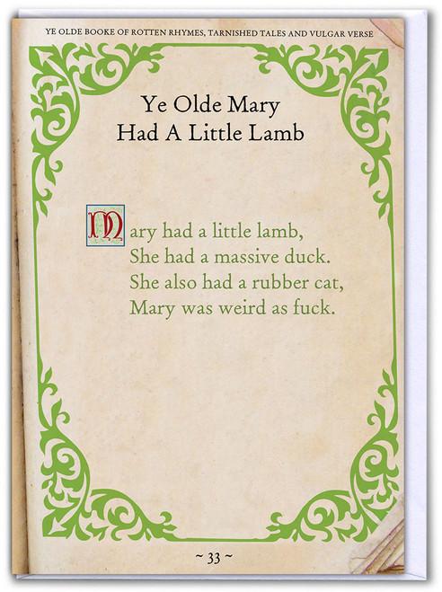 Mary Had A Little Lamb Funny Birthday Card