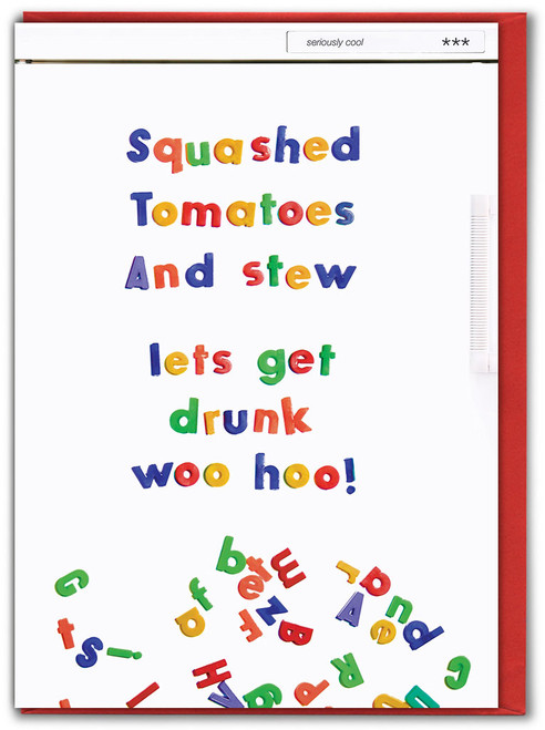 Squashed Tomatoes Embossed Birthday Card
