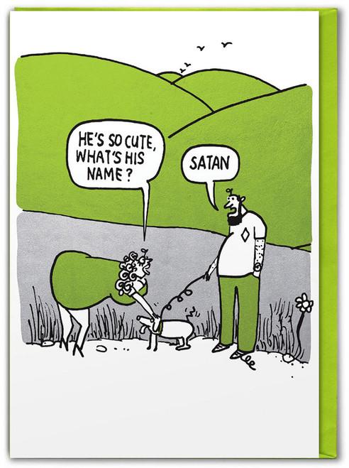 Satan Dog Metallic Foiled Birthday Card