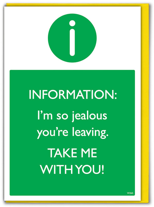 Take Me With You Leaving Card