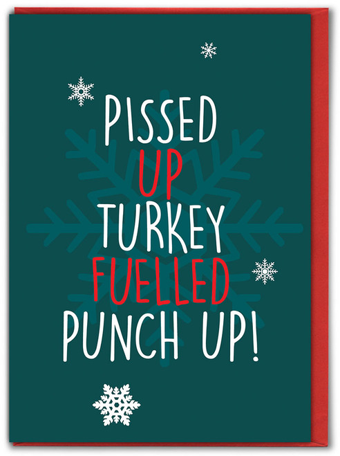 Turkey Fuelled Punch Up Christmas Card