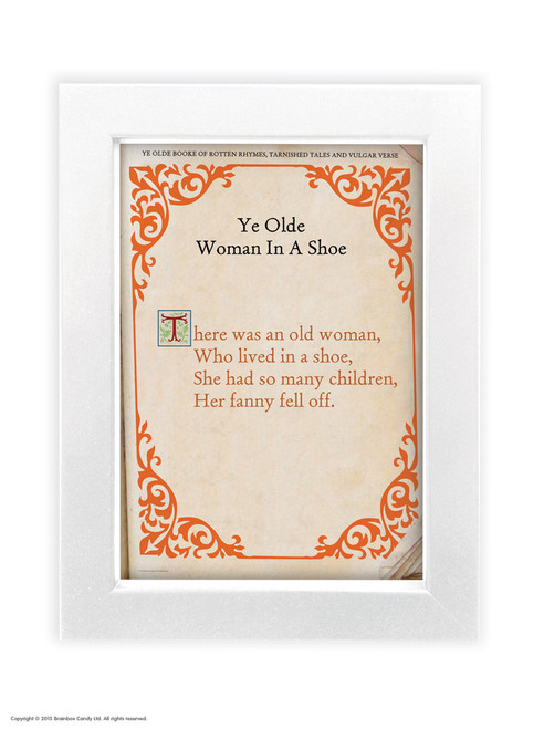Old Woman In A Shoe - Quality A3 / A5 Framed Print (Choice of Black or White Frame)