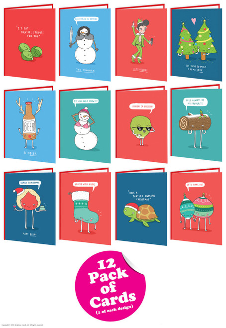 12 Pack of Christmas Cards Charly Clements Range