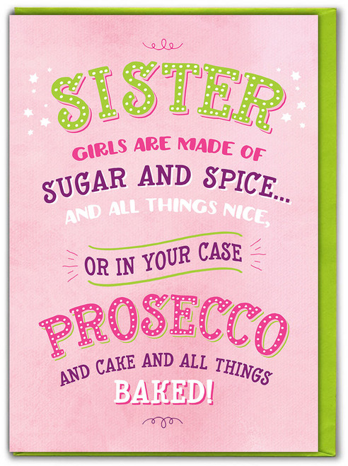 Sister Prosecco & Cake Birthday Card