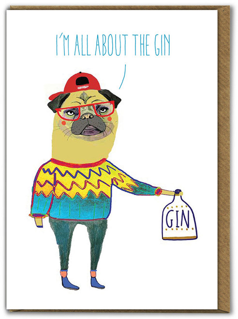 Gin Pug Birthday Card