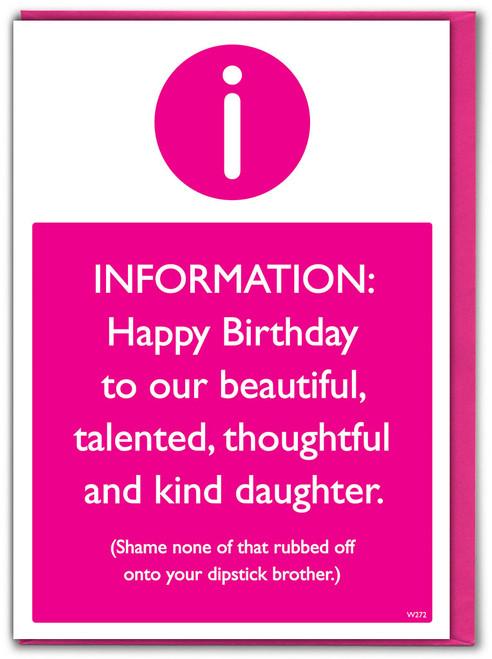 Dipstick Brother Daughter Birthday Card