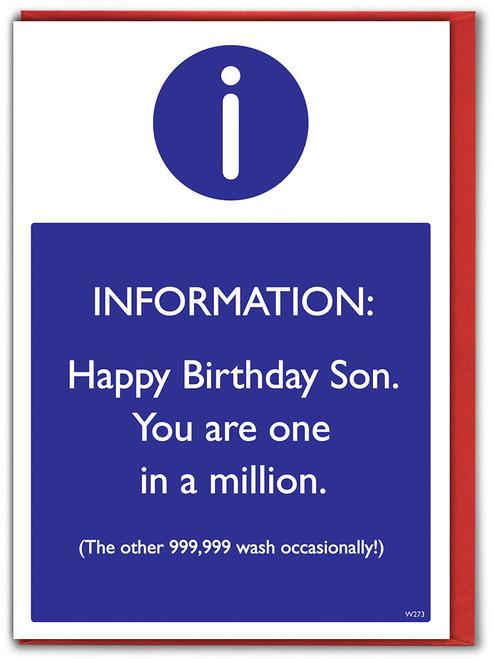 Son One In A Million Birthday Card