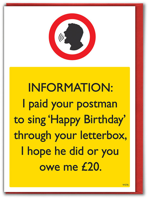 Paid Your Postman Birthday Card