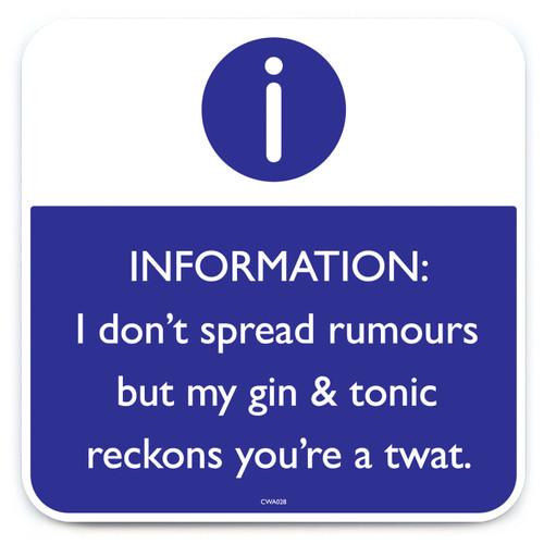 Gin Reckons You're A Twat Coaster