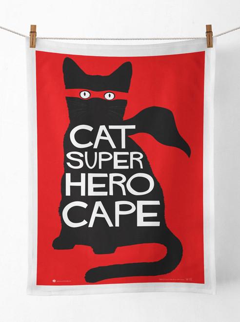 Cat Super Hero Cape Tea Towel