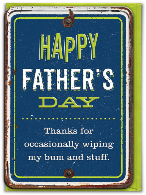 Wipe My Bum Embossed Father's Day Card