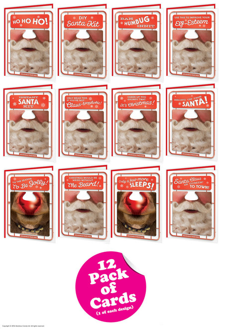12 Pack Of Santa Facematt Christmas Cards Each With Wearable Face Mat
